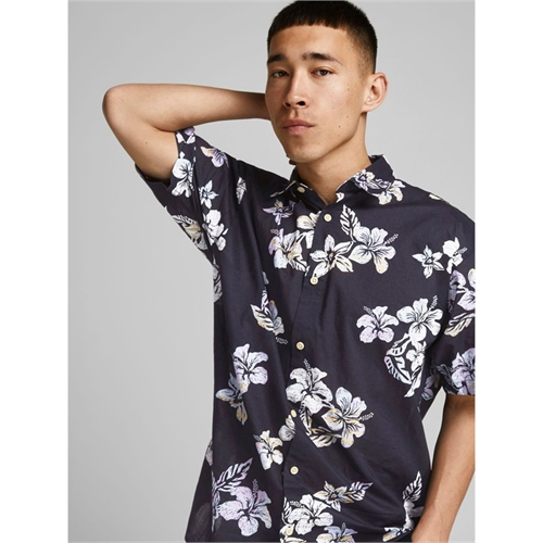 JACK&JONES camicia mezza manica uomo con stampa 2187954 blu 02
